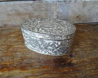 Vintage Metal Jewelry or Trinket Box Silver Sweet