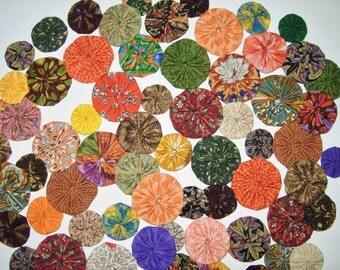 70 Fabric YoYo Assortment, Oranges, Greens, Rust, Yellow, Purple, Beige, Many Sizes,  Embellishments, Appliques,
