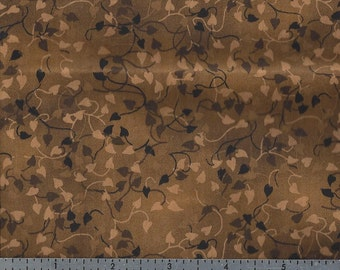 Cotton Fabric -  Brown Tone Leaf Print - by the Yard