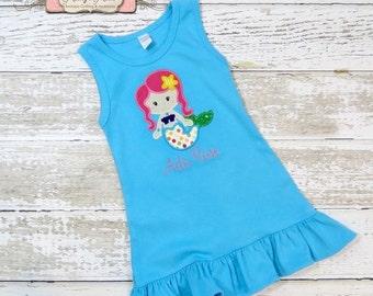 SALE, Mermaid Dress, Appliqued Dress, Embroidered Dress, Monogrammed Dress, Toddler Dress, Summer Dress, Sundress