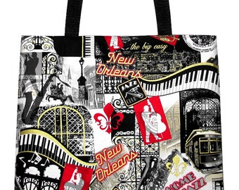 New Orleans Tote Bag - Bourbon Street, Jazz, The Big Easy Large Carryall - Ready to Ship