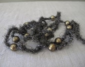 Last One- 6' Strand of Antiqued Silver TINSEL GARLAND with Mercury Balls   cheswickcompany