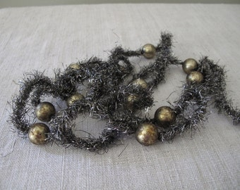 6' Strand of Antiqued Silver TINSEL GARLAND with Mercury Balls   cheswickcompany