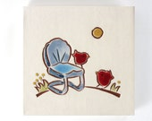 "Red Birds on a Vintage Blue Chair handmade tile, ceramic coaster or wall hanging 4""x 4"""