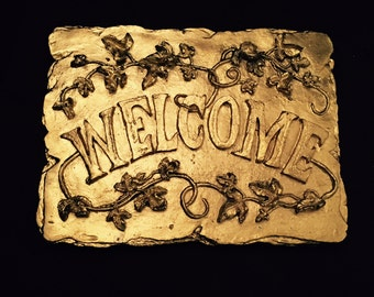 Welcome Sign, Gold Gilt Gesso Welcome Plaque, Floral Relief