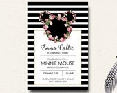 Minnie Mouse Boho Floral Wreath Pink Gold Girls Birthday Invitation Roses Floral Crown
