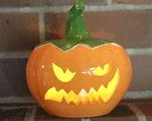 Ceramic Halloween Jack-o'-lantern In Orange, Yellow and Green Handmade