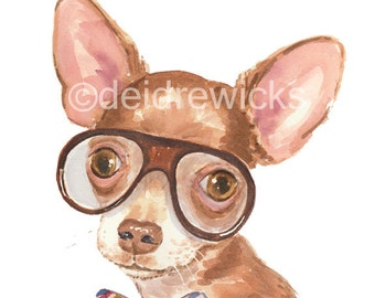 Brown Chihuahua Watercolor PRINT - 8x10 Painting, Dog in Glasses, Nursery Art