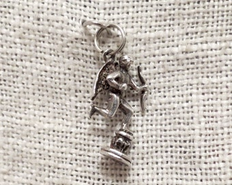 Cupid with Bow & Arrow on Pedestal Sterling Silver Charm Pendant