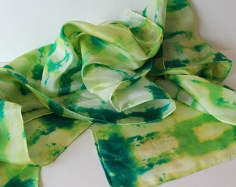 Hand Dyed Silk Scarf or Waldorf Playsilk - Wizard of Oz Inspired Silk Scarf  - Emerald City