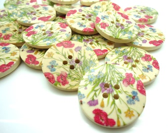 5 x Floral Buttons - Large Wooden Buttons - Flowers - Craft Supplies - 30mm