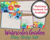 Watercolor Etsy Banner Set - Rainbow Watercolor Etsy Shop Banner - Watercolor Banner - Flower Etsy Shop Banner - Painted Etsy Shop Icon