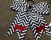 Black and white chevron spirit cheer style bow with red glitter show cattle