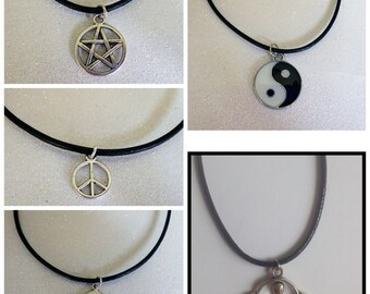 Black cord Necklace/Choker - Pentagram, Peace, Saturn, UFO, Yin & Yan