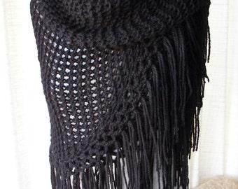 BLACK Hand Knit Shawl Triangle Scarf Soft Acrylic with FRINGES
