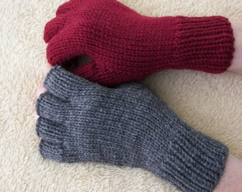 Hand Knit Half Finger Gloves Soft 100% Peruvian Wool Burgundy or Charcoal Gray / Thoughtful GIFT
