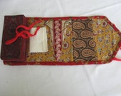 Red sewing box, housewife, huswife, hand sewn