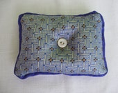 Blue and tan silk pin cushion or pin keeper