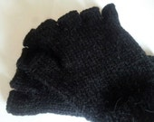 Half Finger Alpaca Gloves, Hand Knitted fingerless gloves.