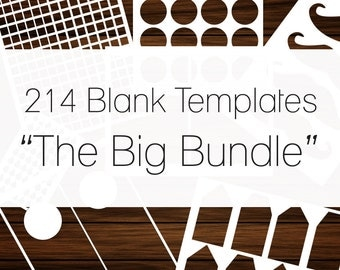 214 Templates,Paper Crafting Sheet Templates Bundle, Commercial Use, Blank Templates,Instant Download, Waterbottle, Labels, Cards, Wedding