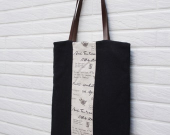 Tote bag,Woolen totes with Genuine Leather Handles, fall bag ,