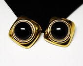 Huge Square Ciner Signed Earrings - Clip on Earrings - Goldtone & Black Glass Cabochon - Runway Statement Retro Jewelry - Designer Signed