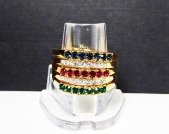 Interchangable CZ Band Ring - Goldtone Ring Enhancer Jacket - Wrap -  Emerald Green Ruby Red Sapphire Blue CZs Vintage Signed 11.5 & NV