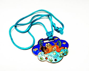 Chinese Key Cloisonne Pendant Necklace - Reversible Design on Cord - Blue, Turquoise, Peach - Fish, Boy, Sea motif - 1970's - 1980's Vintage
