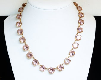 Art Deco Choker Necklace - Light Pink Purple Crystal Rhinestones - Prong set in Etched Backed Settings