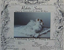 """RARE Vintage Radley House Pattern Rabito Series 11"""" Stuffed Bunny with Christening Gown, Slip, Bonnet, Pillow and Blanket 22""""x27"""" UC"""