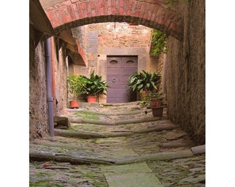 """Fine Art Color Travel Photography of Tuscany - """"Alley in Cortona"""""""
