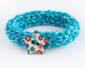 Caribbean Blue Button Bangle - Stocking Gifts - Turquoise Knitted Accessory • Secret Santa Gifts • Knitted Blue Bracelet •Cute Blue Bangles