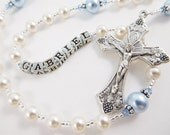 White and Baby Blue Personalized Rosary - Baptism, First Communion, Confirmation Catholic Gift - Swarovski Pearls