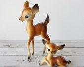 Vintage Fawn and Doe Plastic Figurines
