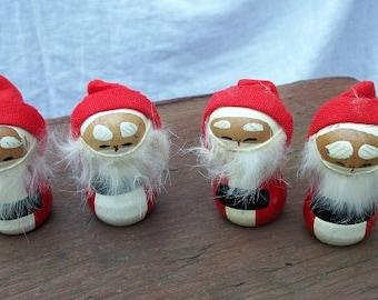 Vintage Cute Little Furry Santas Made in Japan