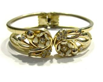 Vintage Gold Enamel Clamp Bracelet White Flower Rhinestone Clamper Hinge Bracelet Vintage Jewelry