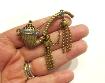 Vintage Rhinestone Brooch Smoking Pipe Rhinestone Pin Mesh Bead Dangles Pin Under 50 Collectible Jewelry Gift Idea
