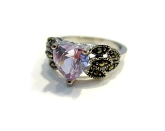 Silver Purple Heart Ring Size 9 Silver Tone Heart Shaped Glass Stone Gift for Her Gift for Mom