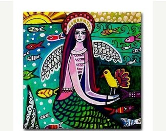 Hurry 50% Off- Mermaid art Tile Ceramic Coaster Print of painting by Heather Galler