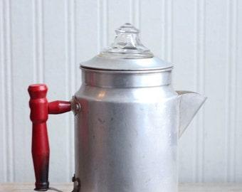 Vintage Aluminum Coffee Pot Percolator, Rustic Farmhouse or Camping Coffee Pot, Blue Ribbon Sterling Aluminum Company, Toronto Canada