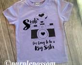 Big Sister Shirt Smile Shirt Camera Sister Shirt Sister Tshirt Big Sister Camera theme shirt Big Sis Shirt Pregnancy Announcement