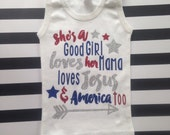She's a good girl loves her mama loves jesus and America too Girls  Shes a good girl glitter heart Tom Petty tank top 4th of july shirt tank