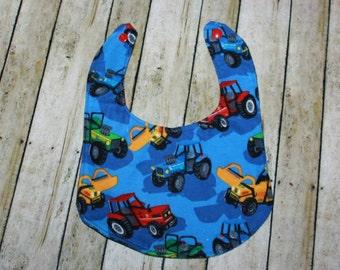 Tractor Print Flannel Bib, Baby Boy Bib, Boy Baby Bib, Ready to Ship Bib, Baby Bib