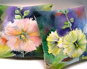 Hollyhock Drama Pillows PAIR 8x8 Hand Painted Original Art Charming English Garden Wee Pillow Accents for Home & Gift Giving