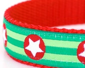 Sample Sale, Stars and Stripes Dog Collar, Size S, Green Pet Collar, Adjustable Ribbon Collar