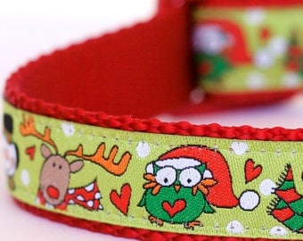 Christmas Owls Dog Collar, Holiday Snowman on Lime Green, Reindeer