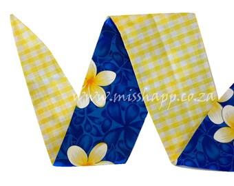 Blue and Yellow Frangipani / Yellow Gingham Reversable Bandana