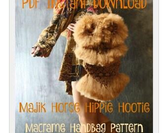 Vintage Look Macrame Owl Handbag Purse Bag Tutorial Pattern Instant Download PDF by Majik Horse