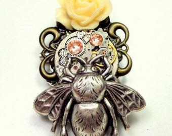 Honey Bee Steampunk Vintage Watch Movement Brooch