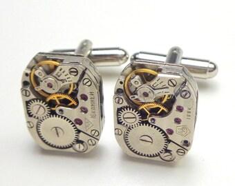Steampunk Cufflinks, Ruby Jeweled, Watch Movement, Men's Formal Jewellry, Steam Punk Goth,Clock Work Jewelry,Wedding Men's, Prom Accessories